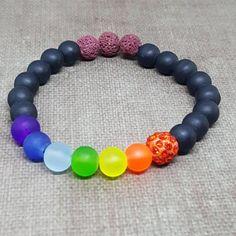 Chakra essential oil diffuser beaded bracelet, aromatherapy, lava bead, yoga jewelry, meditation, spiritual jewelry, rainbow, natural health by SoulRocker on Etsy