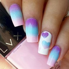 17 cotton candy nails that look so sweet they will bring out the kid nail art designs Cute Nail Art Designs, Simple Nail Designs, Acrylic Nail Designs, Acrylic Nails, Matte Nails, Glitter Acrylics, Cotton Candy Nail Polish, Winter Nails, Summer Nails