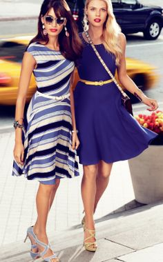 (LEFT TO RIGHT) Stripe Knit Dress and Studded Fit & Flare Dress