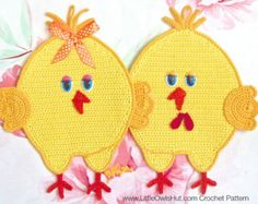 051 Crochet Pattern - Chickens decor, potholder or small pillow - Amigurumi PDF file by Zabelina Etsy Potholder Patterns, Crochet Potholders, Crab Stitch, Single Crochet Decrease, Rooster Decor, Crochet Bookmarks, Small Pillows, Easter Crochet, Rugs