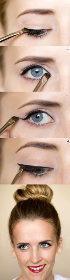 25 Must Know Eyeliner Hacks -How To: Cat Eyeliner -Winged Looks and Easy Makeup Tricks and Guides for Liquid Pencil and Gel Styles. Step by Step Tutorials with Pictures using Tape or a Spoon thegoddess.com/eyeliner-hacks
