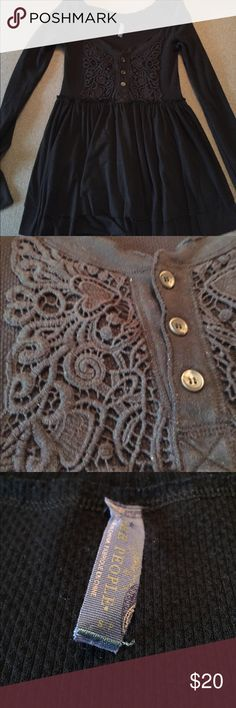 Free People long sleeve shirt Black Free People waffle shirt with peplum bottom and lace Henley details. Never worn. Free People Tops Tees - Long Sleeve