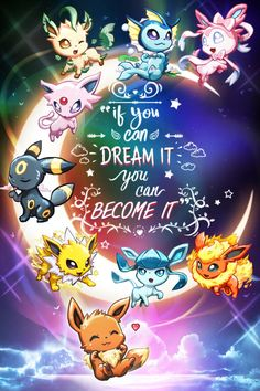Pokemon Eeveelution Eevee Dreaming in the Night Sky Inspirational Quote Poster Print Gaming Wall Art Fanart Decor Anime Digital Illustration - アニメ & ポケモン 2020 Pokemon Poster, Pokemon Fan Art, Guzma Pokemon, Pokemon Quotes, Pokemon Eevee Evolutions, Pikachu Art, Pokemon Craft, Pokemon Funny, Pokemon Fusion