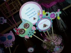 Owl table decor gilrs birthday party or girls by DesignsByShayB, $25.00