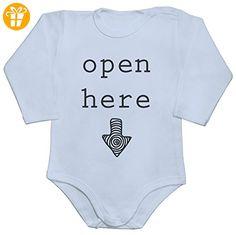 Open Here Arrow Baby Romper Long Sleeve Bodysuit Medium - Baby bodys baby einteiler baby stampler (*Partner-Link)
