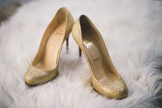 Gold Christian Louboutin wedding shoes...adds style to your wedding look AND you can wear them again...with so many things!