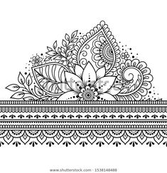 Seamless borders pattern with Mehndi flower for Henna drawing and tattoo. Decoration in ethnic oriental, Indian style.