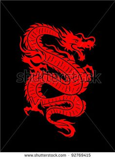 Vector Illustration Of A Red Chinese Dragon On Black Background