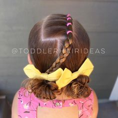 Viv chose her style today and it turned out so cute!! A line of ponies (with elastics off to the side), a braid, and low messy bun piggies! Cute yellow bows from @afancyladyshop!