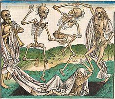 """Esta obra titulada """"La Danza de la muerte"""", de Michael Wolgemut, se puede relacionar con el tópico literario Ubi sunt? (""""¿Dónde están?""""). Estos esqueletos representan personajes medievales de los que ya no queda rastro."""