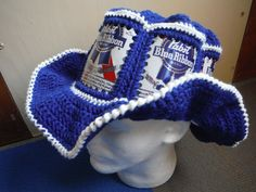Awesome Canhead!  https://www.etsy.com/listing/213874360/new-pabst-blue-ribbon-pbr-beer-can-hat