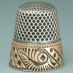 Unusual Antique Gold Band Sterling Silver Thimble by Stern Bros. * Circa 1890s