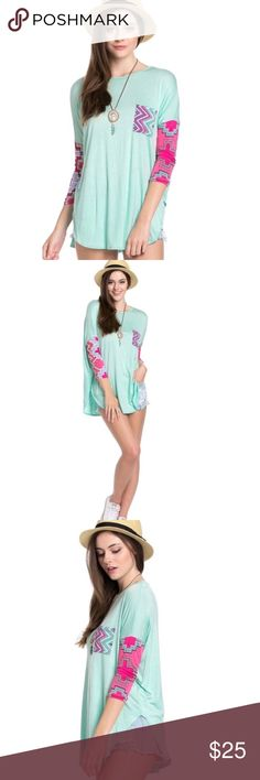 Cute mint and Aztec print top, sleeves! Super cute mint tee with detailed sleeves and breast pocket! Wear this with your favorite accessories for a great every day look! Made in the USA 🇺🇸 Tops Tees - Long Sleeve Plus Fashion, Fashion Tips, Fashion Design, Fashion Trends, Aqua Fabric, Tunic Pattern, Printed Tees, Cropped Jeans, Casual Tops