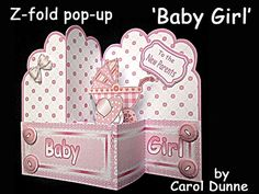 A lovely z-fold pop-up card for a new baby girl. A pram and a soother pop-out of the middle when the card is opened, all in shades of pale pink.Easy to make with photographic instructions in the kit. Folds flat to fit a 5 x 7 inch envelope (12 x 17.5 cm)