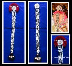 Beautiful Muthyala Jada made with pearls and kundan.(Nandamuri Tejaswini style)