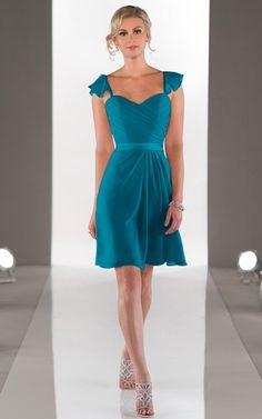 Shoulder Straps A-line Chiffon Zipper Knee-length Dresses,Bridesmaid Dresses,Bridesmaid Dresses UK,2014 Bridesmaid Dresses