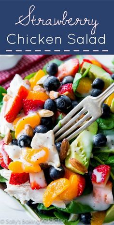 This salad has it all! Strawberries, blueberries, avocado, almonds, chicken, spinach, so healthy!