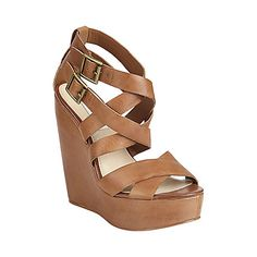 CONECTED TAN LEATHER womens sandal high wedge - Steve Madden