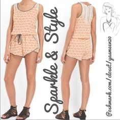 "✨Flirty coral romper✨ Coral and beige romper with chambray crochet back.Drawstring waist and 2 side pockets. Length: 33"" Bust: 36"" Waist:  26"" Love Riche Other"