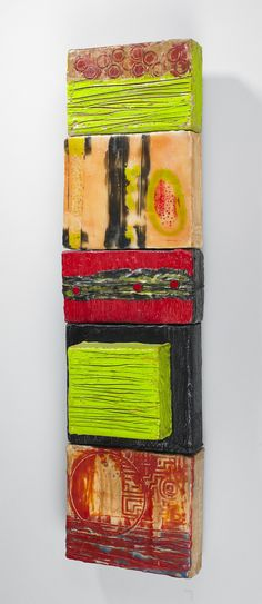 Artist: Shannon Weber, Oregon Encaustic Painting (Prosperity 2004) Encaustic on found wood, carved and scraped, embedded objects