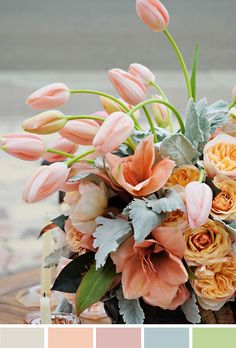peach and blush (reader request) peach blush floral centerpiece with tulips - love for a spring wedding Love Is Love Is may refer to: Floral Wedding, Wedding Bouquets, Wedding Flowers, Purple Bouquets, Wedding Blush, Wedding Mandap, Wedding Stage, Flower Bouquets, Wedding Receptions