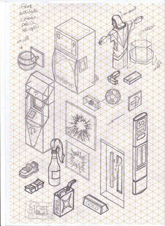 Sketches on a isometric reticle paper! Dont like the lines when im drawin, but in this case the paper helped too much, without the lines would be impossible. I was 2 months just thinking about things you can find in a city, and trying to draw them. Isometric Sketch, Isometric Grid, Isometric Design, Isometric Drawing Exercises, Drawing Grid, Perspective Drawing Lessons, Graph Paper Drawings, Composition Art, Object Drawing