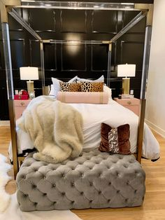Jennifer Worman's before and after of her glam parisian inspired bedroom. The process of creating a glam bedroom with the help of August Jane Design. Parisian Bedroom, Feminine Bedroom, Glam Bedroom, Home Bedroom, Bedroom Red, Bedroom Decor, Bedroom Ideas, Pink Bedroom Design, Bedroom Design Inspiration