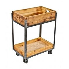 """repurposed american industrial welded joint angled iron and cedar wood two-tier mobile factory cart with original """"roll-ezy chief"""" double wheel trucks Welded Furniture, Iron Furniture, Repurposed Furniture, Vintage Furniture, Furniture Buyers, Repurposed Wood, Welding Projects, Welding Art, Welding Ideas"""