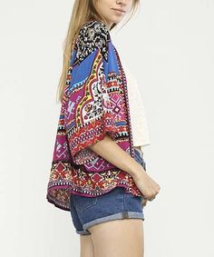Love this Navy Arabesque Kimono on #zulily! #zulilyfinds