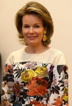 Belgian Queen Mathilde during her visit of the exhibition of the work of famous Belgian painter Michael Borremans, 27.05.2014