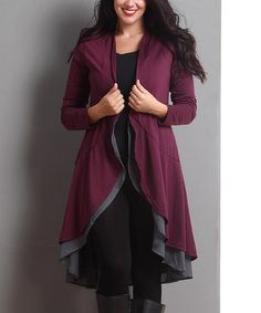 This Plum Open Drape Cardigan - Plus is perfect! #zulilyfinds