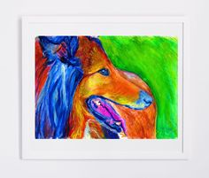 Rough Collie Dog painting collie dog gift idea 8x10, 11x14, Abstract... #dog #art… visit oscarjetson.com to see cool dog art oscarjetson.com