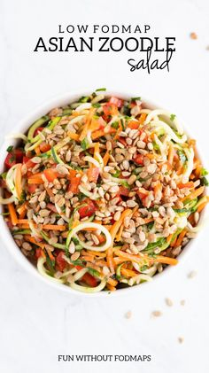 Recipes Fast Fresh and colorful, this Low FODMAP Asian Zoodle Salad is DE-lish! Make this fast and flavorful salad recipe for a for a simple no-cook side dish salad. Fodmap Recipes, Vegan Recipes, Diet Recipes, Recipes Dinner, No Cook Recipes, Lunch Recipes, Potato Recipes, Asian, Sandwiches