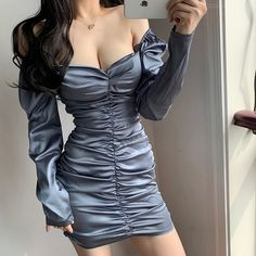 Korean Girl Fashion, Lifestyle Shop, Retro Chic, Fashion Sewing, Korean Outfits, Online Clothing Stores, Bodycon Dress, Sleeved Dress, Long Sleeve