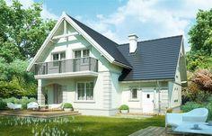 Projekt domu Milena 122,9 m2 - koszt budowy 208 tys. zł - EXTRADOM Design Case, Modern House Design, Traditional House, Shed, Outdoor Structures, Outdoor Decor, Home Decor, Stitch Patterns, Cross Stitch