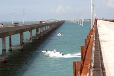 Boat headed out for a day of Florida Keys fishing near Seven Mile Bridge at Marathon Key