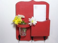 Mail organizer, floral vase, mail holder, key hooks, vintage, sconce, home organizer, distressed, shabby chic, home decor,painted Rich Red by OldWoodTrader on Etsy https://www.etsy.com/listing/97968663/mail-organizer-floral-vase-mail-holder