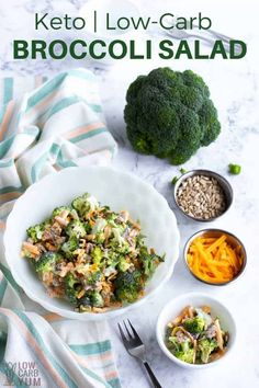 Keto broccoli salad with bacon and cheese // broccoli salad recipes // salad wit. Keto broccoli salad with bacon and cheese // broccoli salad recipes // salad with broccoli // summer broccoli salad // Low Carb Broccoli Salad, Broccoli Cauliflower Salad, Broccoli Cheddar, Broccoli Salad With Bacon, Broccoli Dishes, Broccoli Recipes, Stew Chicken Recipe, Easy Crockpot Chicken, Healthy Recipes