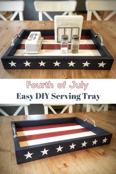 Easy diy fourth of july serving tray! fourth of july decor d 4th July Crafts, Fourth Of July Decor, 4th Of July Celebration, 4th Of July Decorations, Patriotic Crafts, 4th Of July Party, July 4th, Americana Crafts, Christmas Decorations