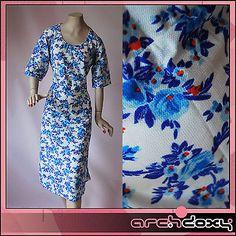 Vintage 1950s Superb 'Bella The Hour' Printed  Blue Wiggle Pin Up Dress UK16 - http://www.ebay.co.uk/itm/like/371637347722?clk_rvr_id=1035181589130&item=371637347722&lgeo=1&vectorid=229508&rmvSB=true