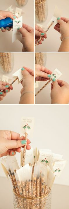 This is the most darling idea for a bird seed toss at your wedding ceremony…