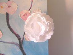 Suspension fleur en naperon