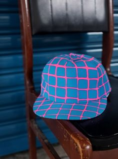 bright blue and pink checkered snapback