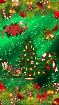 Christmas Tree Gif, Merry Christmas Wallpaper, Merry Christmas Happy Holidays, Holiday Wallpaper, Winter Wallpaper, Christmas Scenes, Christmas Pictures, Christmas Time, Vintage Christmas
