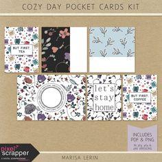 Cozy Day Pocket Cards Kit | digital scrapbooking | pocket cards, journal cards, project life, pocket scrapping, hybrid, printable,