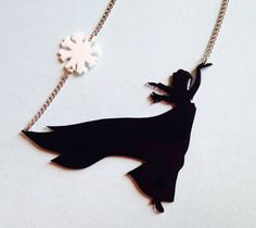Handmade Elsa silhouette necklace. By Courtney Cox. Now on Etsy!