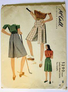Pantaloncini Womens Vintage anni ' 40/Culottes cucire modello girovita 24 McCalls 5290 di PaperDollPatterns su Etsy https://www.etsy.com/it/listing/116839338/pantaloncini-womens-vintage-anni