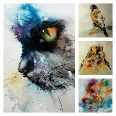 Watercolor cat, lion, rabbit and hawk by Natalie Graham