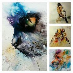 Watercolor cat, lion, rabbit and hawk by Natalie Graham