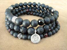 Mens Yoga Bracelet - Lava Stone Mala Bead Bracelet, Faceted Tiger Eye and Thai Silver Om Charm, Spiritual Beads for Men